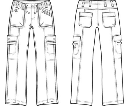 lady fashion cargo pants Vector