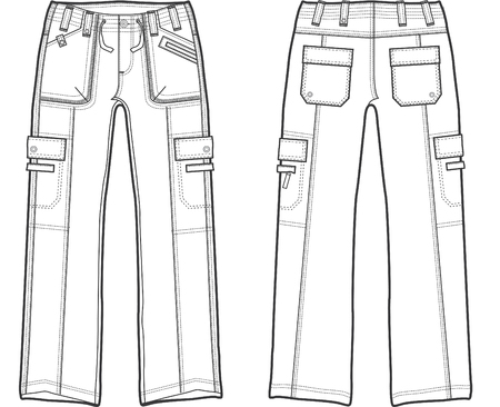 lady fashion cargo pants Stock Vector - 5208343