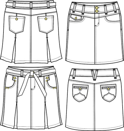 jupe jeans: femme jupe denim Illustration