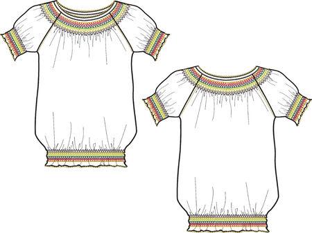 blusa: moda mujer blusa Vectores