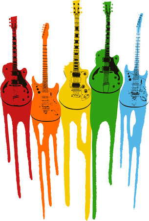 colourful music guitar illustration Vector