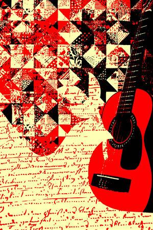 acustica: illustrazione guitar music colorati
