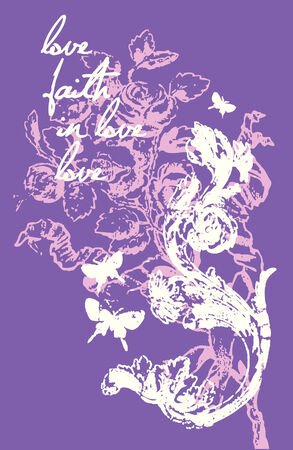 liane: flower and butterfly love design Illustration