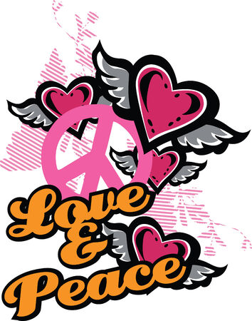 peace and love: love and peace fancy graphic Illustration