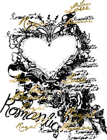 fancy heart scroll ornament emblem Vector