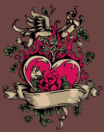cross and wings: coraz�n de fantas�a vintage y emblema de la rosa Vectores