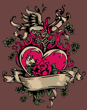 army girl: vintage fancy heart and rose emblem