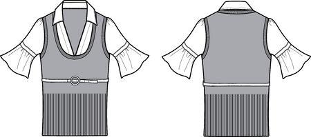 porfessional: Formal Ladies Blouse Fashion Item Design Illustration