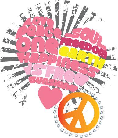 El corazón, el amor y la paz obras de arte gráfico Foto de archivo - 5326540