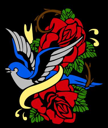 swallow and bird tribal emblem Vector