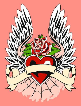 Klassieke Hart Met Wing Tattoo