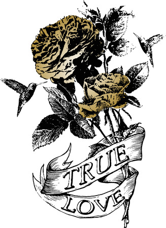 ferraille: Classic fleur rose et oiseau banni�re ruban
