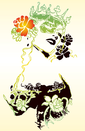 Fancy woman and flower illustration 向量圖像