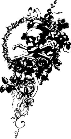 skull with flower emblem Vector