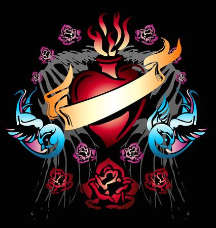Swallow bannière coeur ruban de conception de votre étiquette