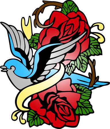 swallow rose fancy emblem Vector