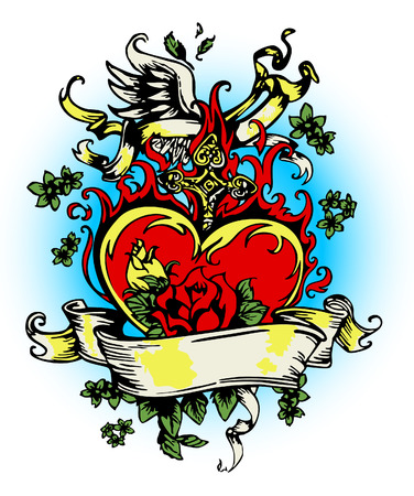 vintage heart with flores and cross Vector