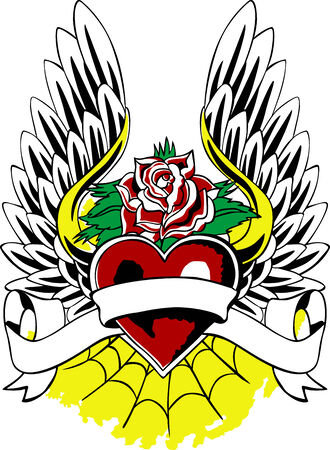 flying heart with wing and rose artwork Vector