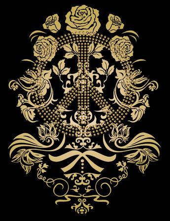 de diseño pacífica con rosa de telón de fondo de flores Ilustración de vector