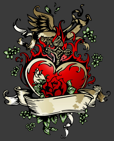 classic rose, heart with wing tattoo emblem Vector