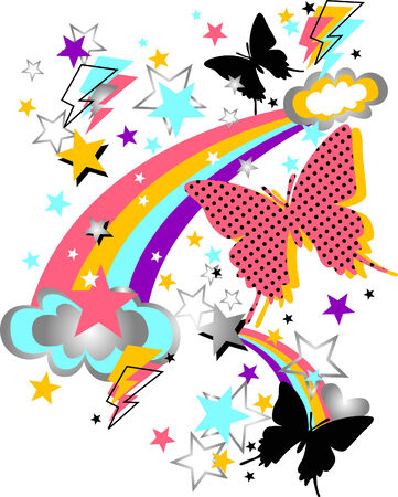 rainbow, butterfly and star funny artwork Vector