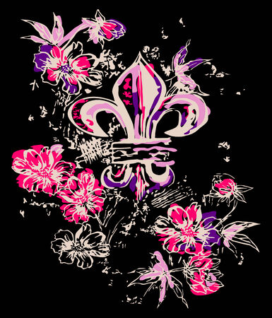 fancy royal symbol with flower decoration Vector