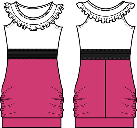 lady fasion a-line dress Vector