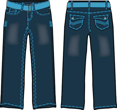 men's denim with belt Stock Vector - 5388070