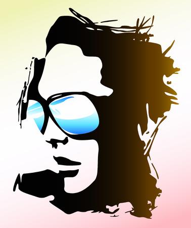 Ilustración, la mujer llevaba gafas de sol Foto de archivo - 5387846