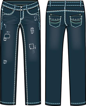 destroyed: Lady Fashion Illustration zerst�rt Jeans