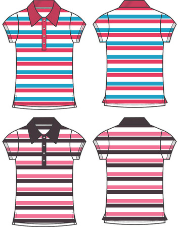 ポロ: 女性ファッションのストライプ パターン ポロ  イラスト・ベクター素材