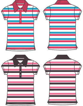 lady fashion stripe pattern polo  矢量图像