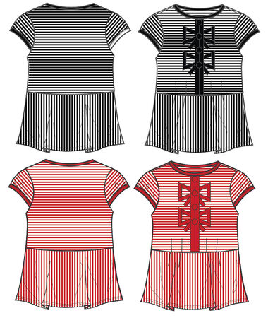 casual wear: lady tops with ribbon details Illustration