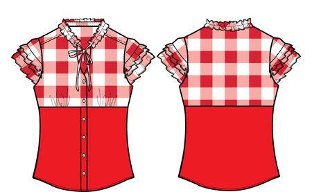 ふだん着: 女性の正式なチェック ブラウス
