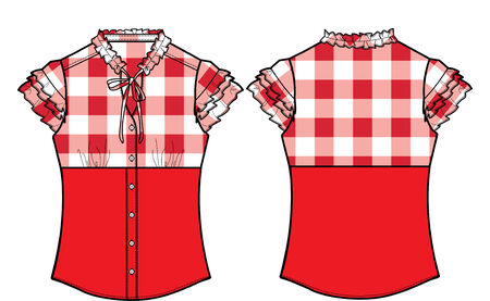 lady formal checked blouse Vector