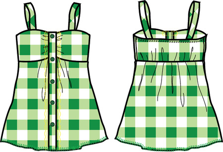 casual wear: lady casual checked top Illustration