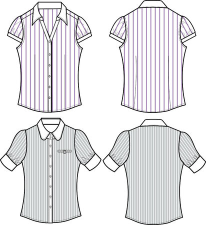 lady fashion formal stripe blouse Stock Vector - 5393575
