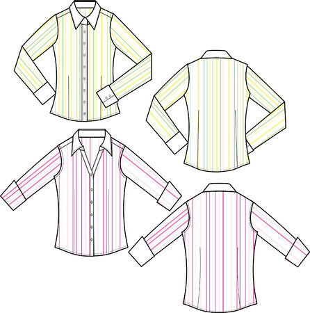 lady fashion formal stripe blouse Stock Vector - 5393577