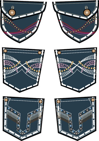 bottom line: lady fashion jeans back pocket design Illustration