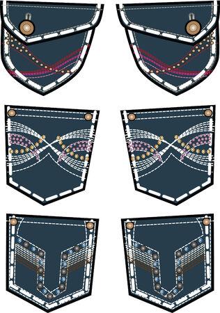 rhinestone: lady fashion jeans back pocket design Illustration