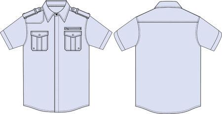 ふだん着: 男性ミリタリー シャツ  イラスト・ベクター素材
