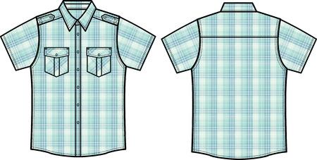 men checked shirts Vector