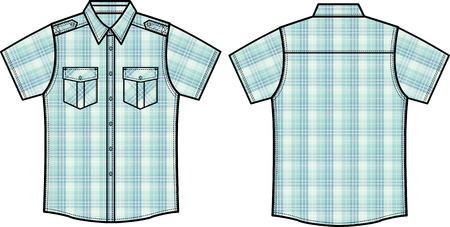 checked: men checked shirts Illustration