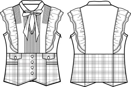 lady formal checked blouse