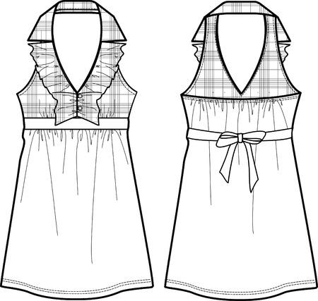 lady checked one-piece dress 矢量图像