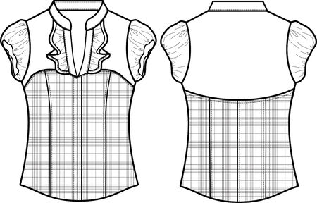 porfessional: lady formal checked blouse Illustration