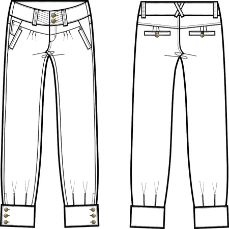 lady denim jeans with details Vector