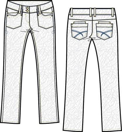 lady skinny denim jeans with crinkle effect Vector