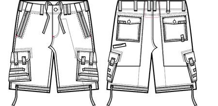 man fashion cargo shorts Vector