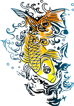 tattoo art: energetic fish swimming in the ocean Illustration